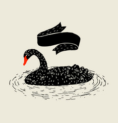 Background with floating black swan hand drawn vector