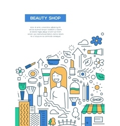 Beauty shop - line design brochure poster template vector