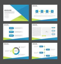 Blue green presentation templates infographic set vector