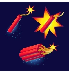 Bomb with sparkles icon vector