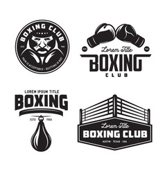 Boxing club labels set vintage vector