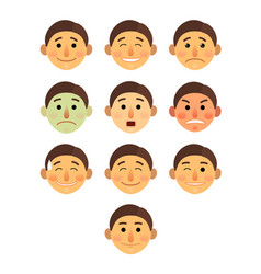 Boy or man different face emotions collection vector