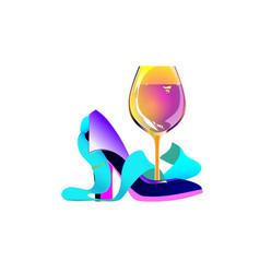 Business party logo biz women wine tie shoe vector