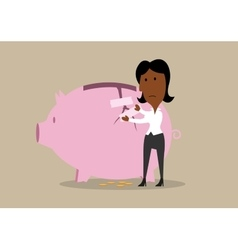 Businesswoman repairing broken piggy bank vector