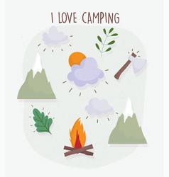 Camping bonfire ax mountains vacations activity vector
