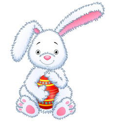 cartoon bunny toy hugging easter eggs vector image