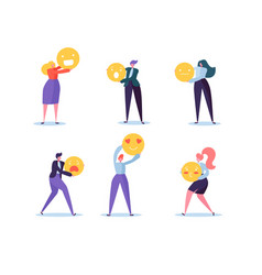 Characters people holding various emoticons emoji vector