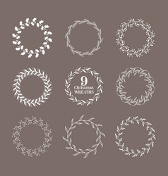 christmas winter floral wreath vintage vector image