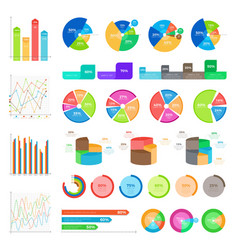 collection of infographics colourful on white vector image