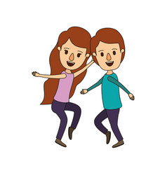 Color image caricature full body couple dancing vector