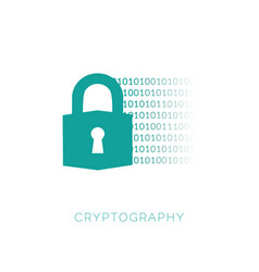 cryptography concept with lock and binary code vector image