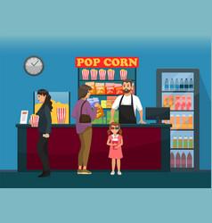 Customers near cinema bar with snacks fast food vector