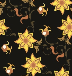 Dark brown seamless pattern with yellow flowers vector