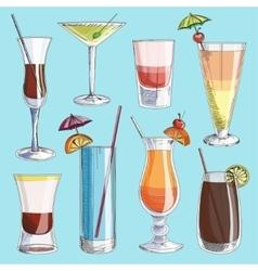 Doodle cocktails vector image