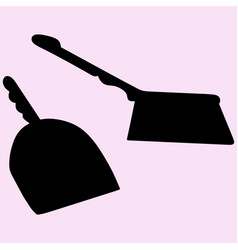 Dustpan and sweeping brush vector