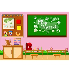 Elementary classroom with board and chairs vector image