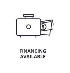 Financing available line icon outline sign vector