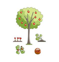 Flat gardening symbols set vector