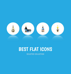 flat icon church set of christian building vector image