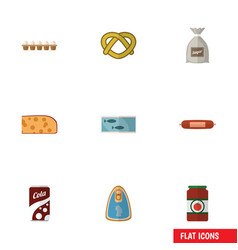Flat icon food set of eggshell box ketchup tin vector