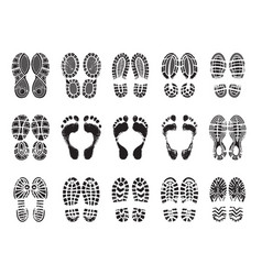 Footprint texture silhouettes sneakers vector