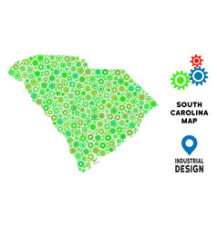 Gears south carolina state map collage vector