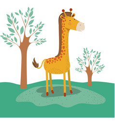 Giraffe animal caricature in forest landscape vector