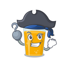 Glass orange juice in a pirate with one hook hand vector