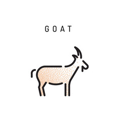 goat web line icon vector image