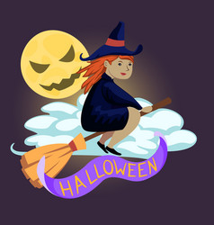 Halloween flying witch and moon design vector