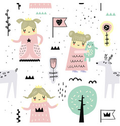 hand drawn seamless pattern with little princess vector image