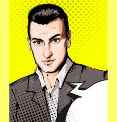 handsome serious man portrait businessman in vector image