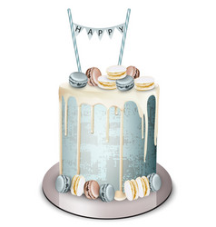 Happy birthday cake realistic white vector