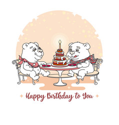 happy birthday card two cute bear eating ca vector image
