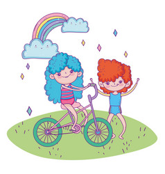 happy childrens day girl riding bicycle and boy vector image