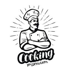 Happy cook in chefs hat cooking cuisine concept vector
