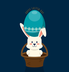 happy easter day decorative with rabbit in basket vector image