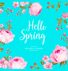 Hello spring card over blue background vector