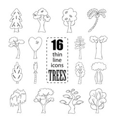 Isolated trees set vector