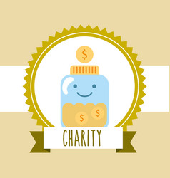 kawaii jar coins money donate charity image vector image