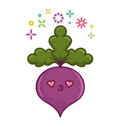 Kawaii smiling beet cartoon vector