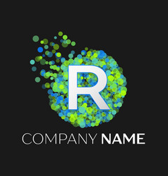 Letter r green yellow particles and bubble dots vector