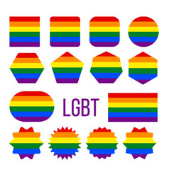lgbt pride flag collection figure icons set vector image