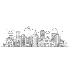 line city landscape urban panorama with vector image