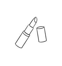 Lipstick hand drawn sketch icon vector