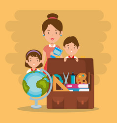 Little kids with school supplies and teachers vector