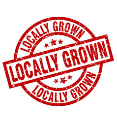 Locally grown round red grunge stamp vector