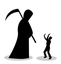 man is afraid of death vector image