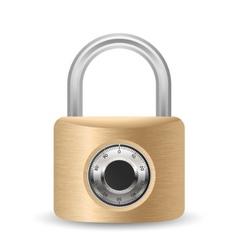 Metallic combination padlock vector
