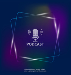 Neon light icon podcast vector